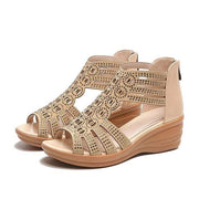 Wedge Heel Open Toe Hollow Out Rhinestone Zipper Sandals