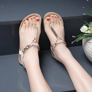 Women Flat Heel PU Casual Elastic Band Sandals
