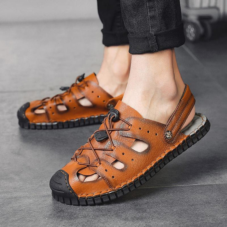 Men Cow Leather Non Slip Large Size Soft Sole Sandals