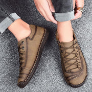 Men Breathable Soft Sole Lace Up Leather Casual Shoes