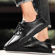 Men Cow Leather Soft Sole Lace Up Leather Casual Shoes