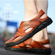 Men Cow Leather Hollow Non Slip Large Size Soft Sole Sandals