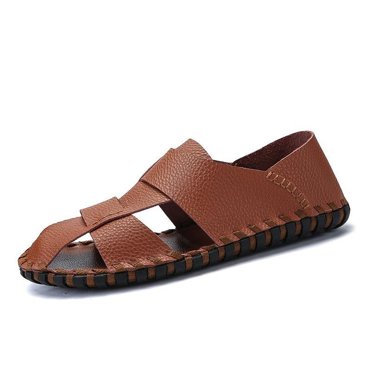 Men Casual Closed Toe Outdoor Soft Leather Sandals