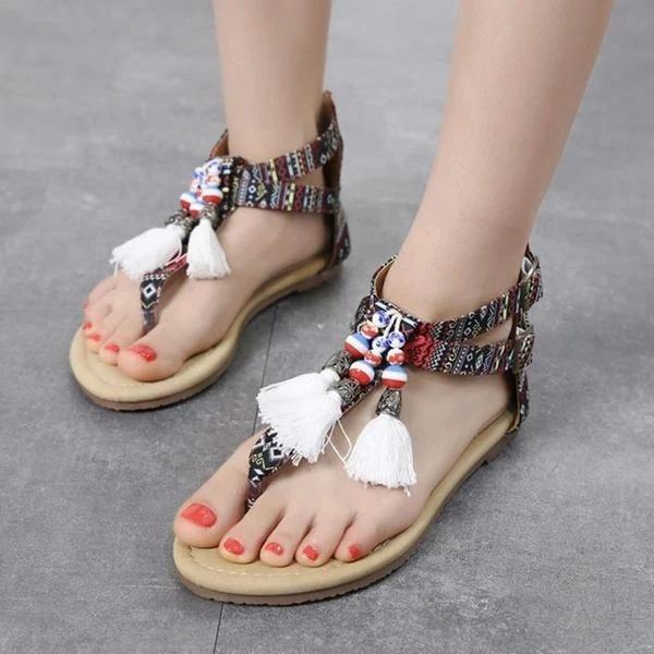 Women Casual Flat Heel Summer Tassel Boho Sandals