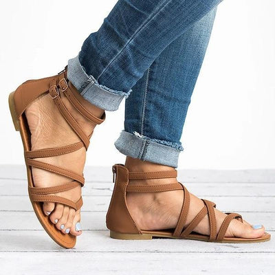 Women Leather Sandals Casual Zipper Adjustable Buckle Shoes