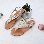 Women Pearl Summer Flat Heel Thong Sandals