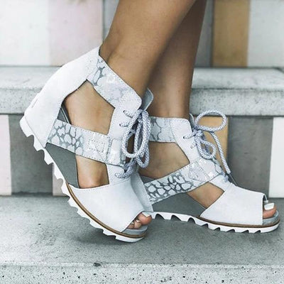 Women Vintage Peep Toe Women Lace-Up Plus Size Sandals