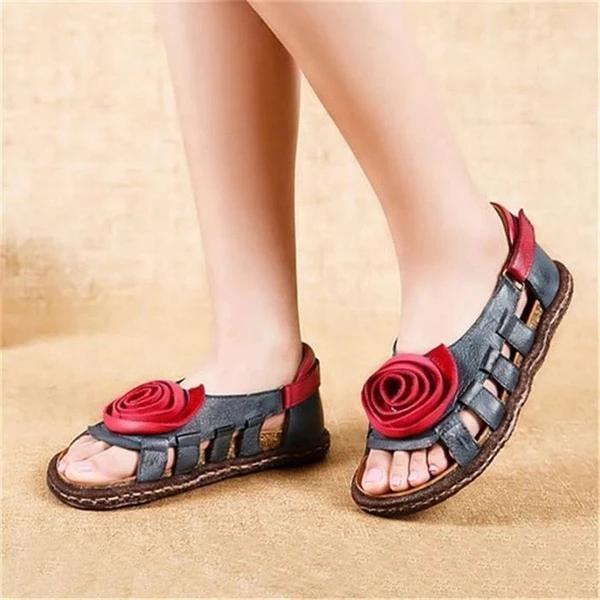 Women Casual Flower Comfy Buckle Strap Flat Sandals