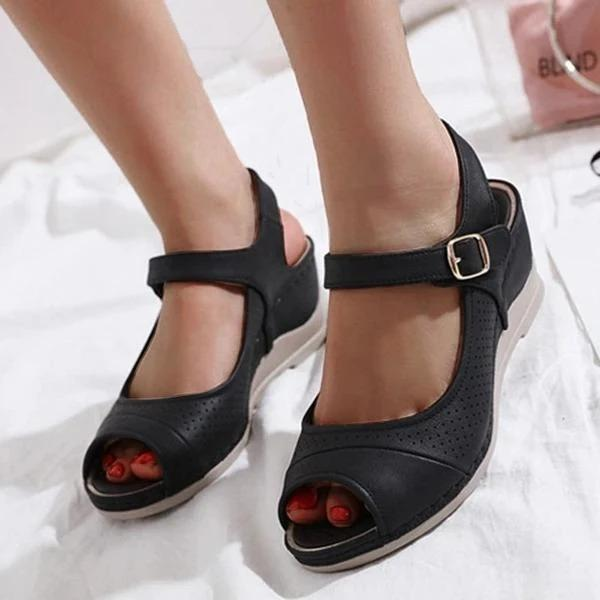 Women Peep Toe Wedge Heel Casual Buckle Sandals