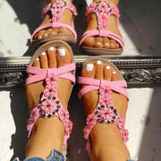 Women Plus Size Studded Flower Embellished Flat Sandals