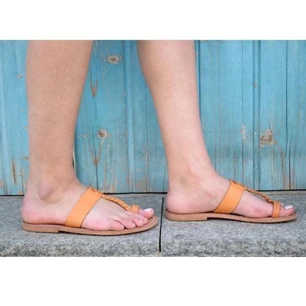 Women Summer PU Flats Flip-Flops Bohemian Sandals Plus Sizes