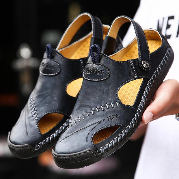 MEN OUTDOOR SLIP RESISTANT CASUAL LEATHER SANDALS