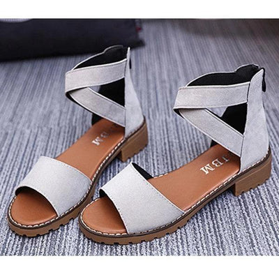 Women Zip-up Peep-toe Flat Sandals