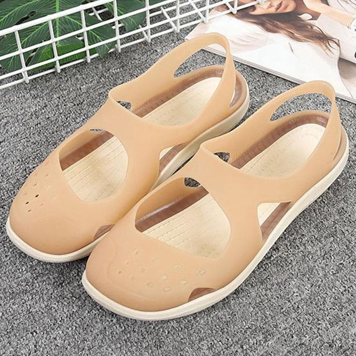 Women Jelly Sandals Shower Swim Pool Beach River Flat Hole Shoes