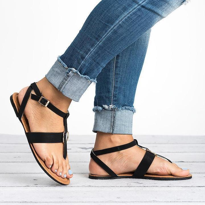 Women Flat Thong Sandals with Metal Loops