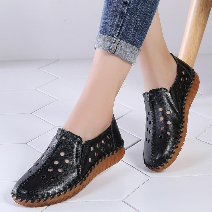 Women Hole Shoes Leather Sandals Round Toe Hollow Casual Loafers