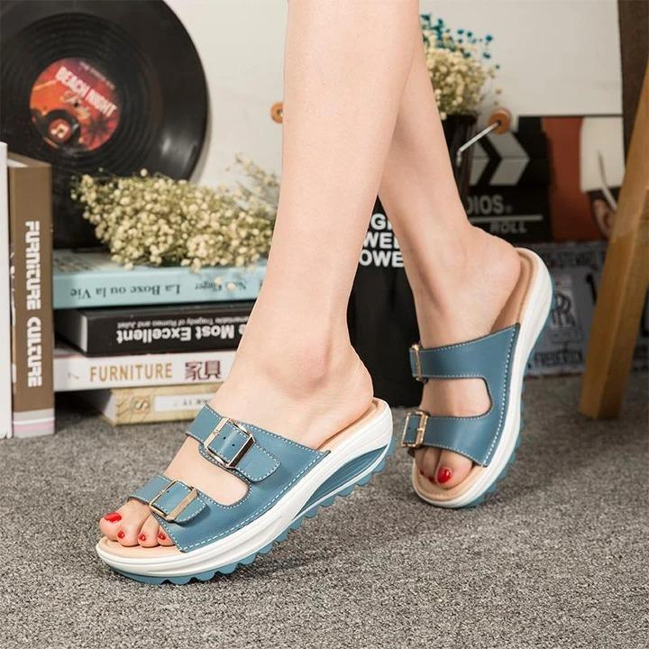 Women Shoes Fashion Leather Summer Sandals Wedge Slippers