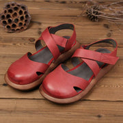 Women Round Toe Pure Color Handmade Leather Retro Sandals