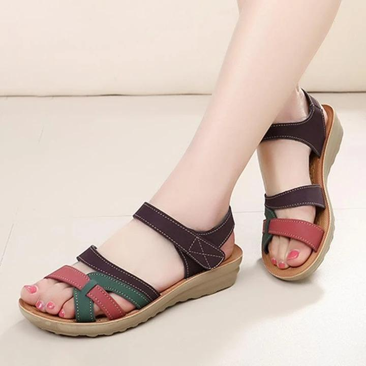Women Faux Leather Open Toe and Magic Buckle Flat Sandals