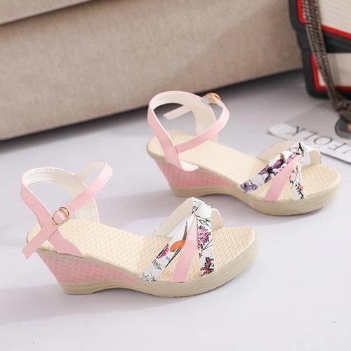 Women Summer Casual Floral Printed Wedge Sandals