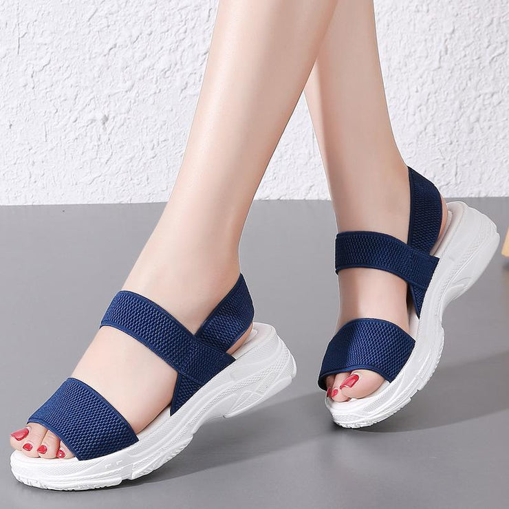 Women Elastic Band Flat Casual Beach Sandals