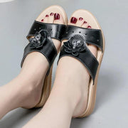 Women Slippers Leather Hollow Flat Shoes with Flower