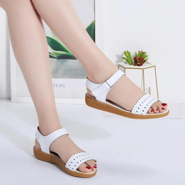 Women Shoes Summer Leather Perforated Velcro Sandals