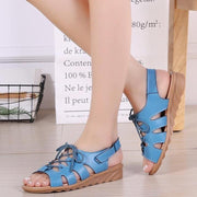 Women Shoes Leather Wedge Heel Strap Sandals
