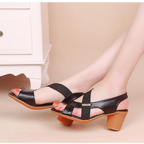 Women Sandals Summer Almond Toe Heel Shoes