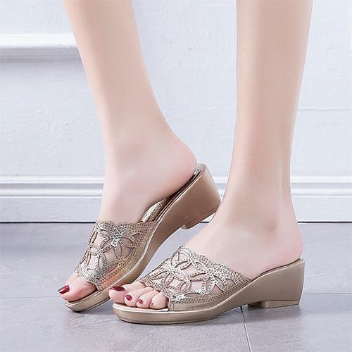 Women Casual Shoes Mesh Hollow Wedge Slippers