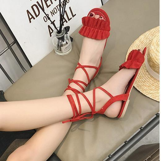 Women Causal Sandals Strap Ruffle Flat Beach Shoes