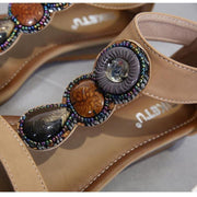 Women Ethnic Sandals Wedge Beaded Retro Roman Style Shoes