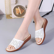 Women Shoes Leather Flat Floral Hollow Slippers