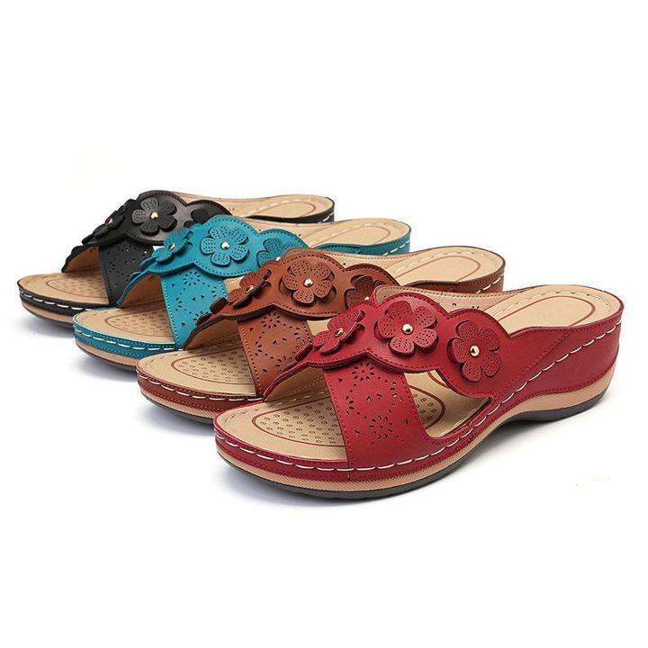 Women Flower Cross Peep Toe Hollow Casual Beach Slippers