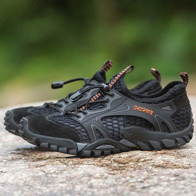 Men Outdoor Round Toe Lace-up Non-slip Breathable Mesh Sneakers Shoes