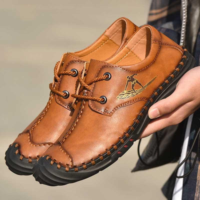 Men Casual Outdoor Lace-up Hand-sewn Sole Leather Shoes
