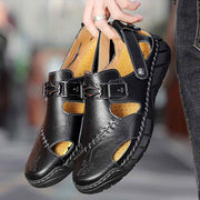 Men Sandals Round Toe Casual Sewn Leather Shoes