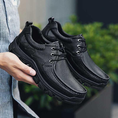 Men Round Toe Lace-up Casual Business Leather Shoes