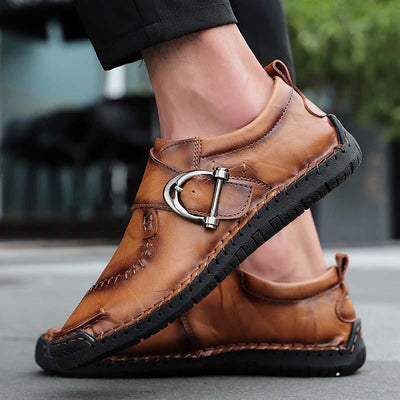 Men Round Toe Casual Business Metal Buckle Decoration Leather Shoes
