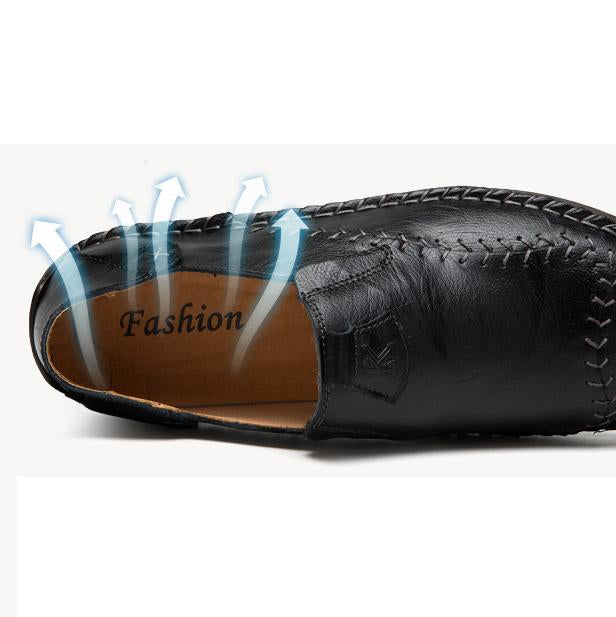 Men Round Toe Casual Leather Shoes Loafers