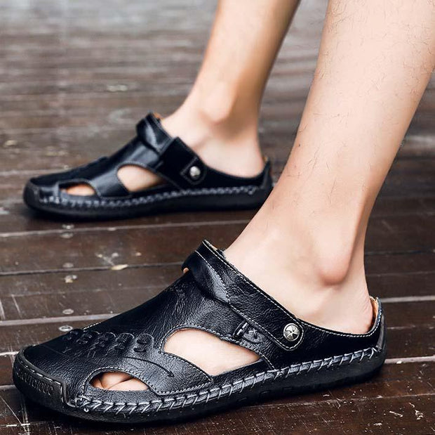 Men Round Toe Casual Breathable Sandals Slippers Leather Shoes