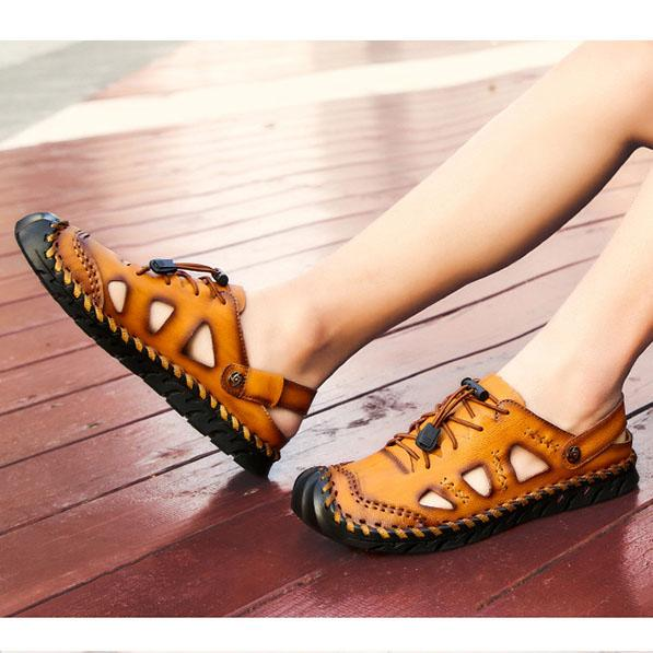 Men Round Toe Casual Shoes Leather Slippers Sandals
