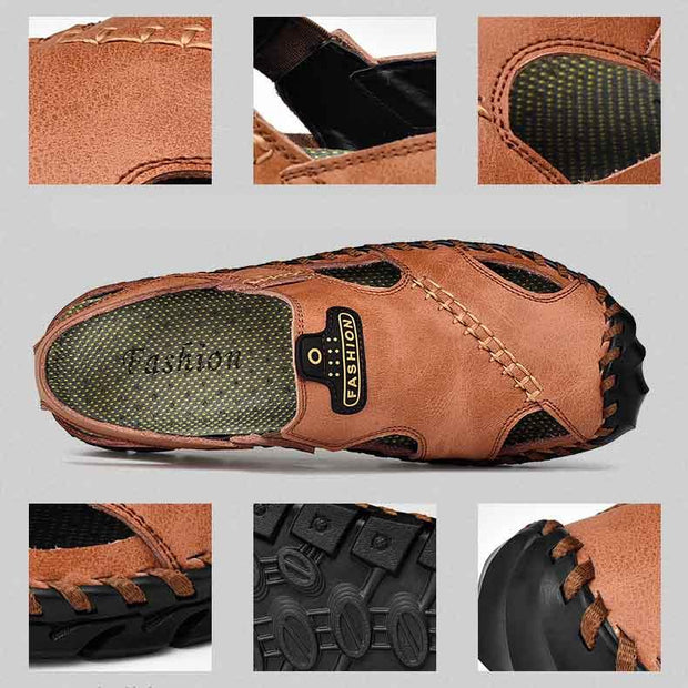 Men Round Toe Casual Shoes Leather Sandals
