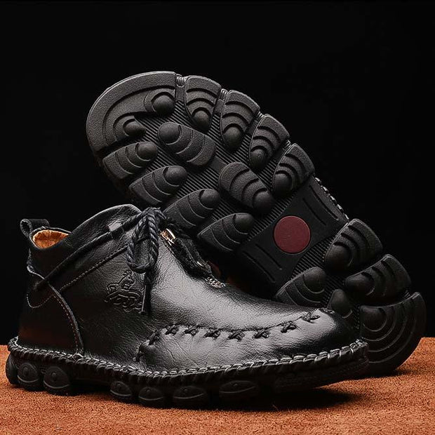 Men Round Toe Casual Shoes Leather Boots