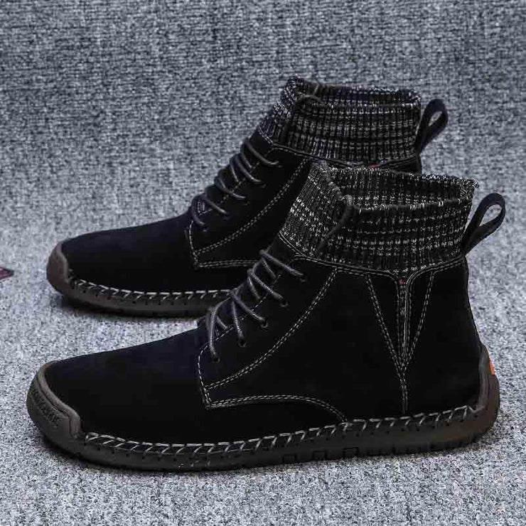 Men Round Toe Casual Lace-up Martin Boots Leather Shoes