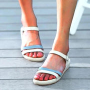 Women Blue Flat Heel Adjustable Buckle Comfy Sandals