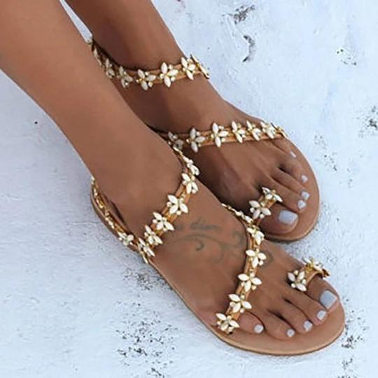 Women Summer Handmade Cute Beach Flat Sandals PU Rhinestone Slip On Sandals