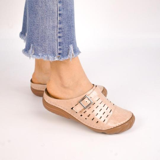 Women Metal Buckle Hollow Out Open Heel Casual Wedges Mule Sandals Clog