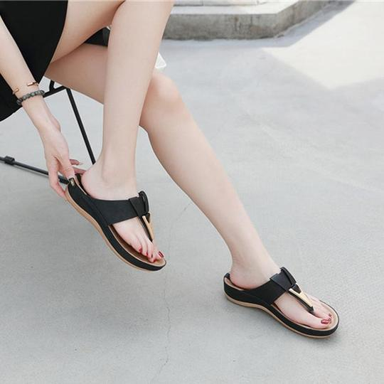 Women summer slippers buckle real leather slides shoes solid thicksole heels beach sandals women outside platformflip flop