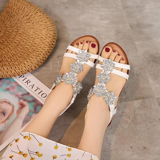 Women Rhinestone Vintage Wedge Sandals Shoes Bohemian Casual Sandals Rome Shoes High Quality Sexy Outside Ladies Shoes
